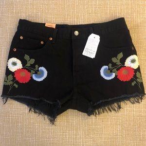 Levi's Black 501 Button Fly Shorts